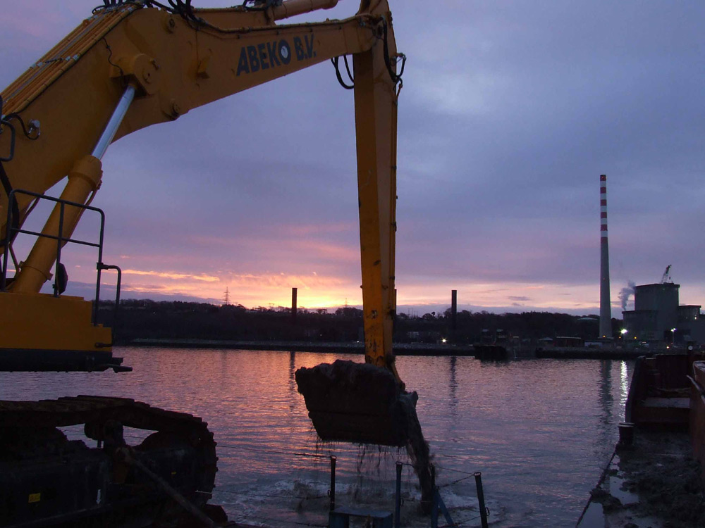 Marine dredging and archaeological monitoring operations by ADCO, Aghada Power Station, Cork Harbour, Ireland