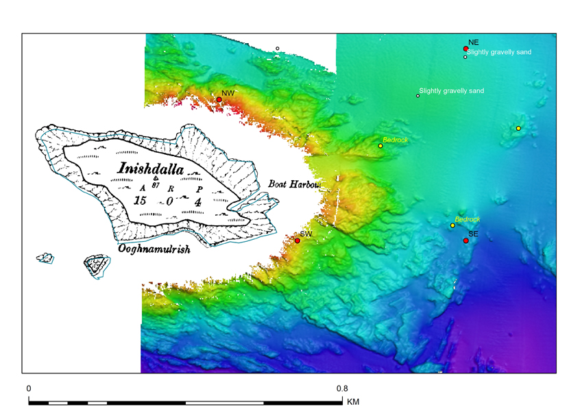 Historic OS mapping integrated with Multi-beam data surrounding Inishdalla, co. Galway, Irleand