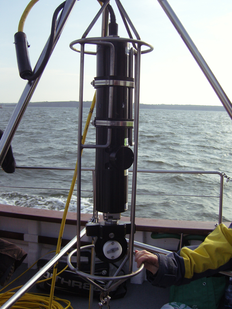 Sector Scan Sonar unit mounted on tripod gimbal