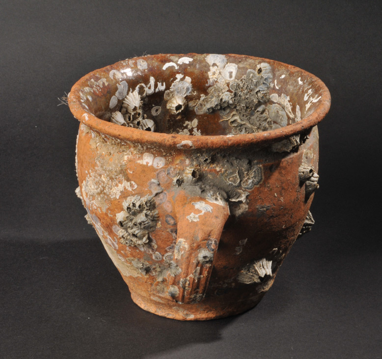 Seventeenth-century earthenware pot from Monkstown, River Lee Estuary, Co. Cork, Ireland.