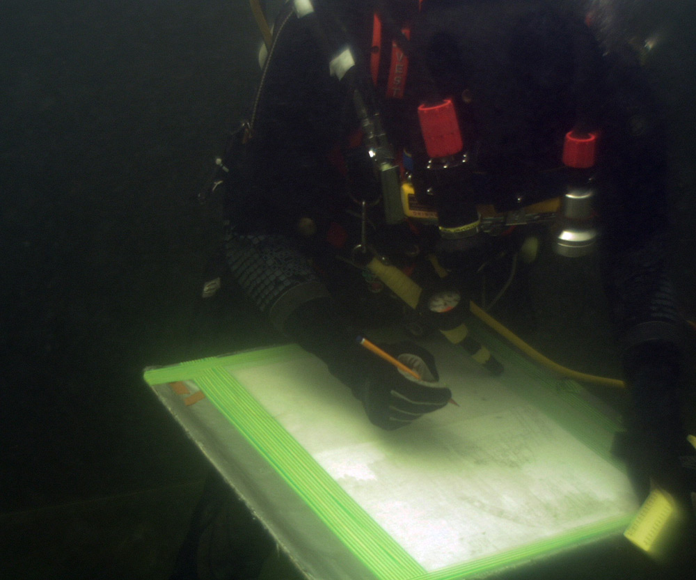 Underwater survey and planning of shipwreck structure.