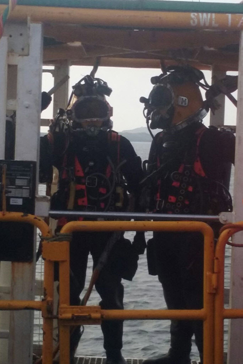 Rex Bangerter and Feargal Morrissey ready for dive on Aran Island Sub-sea Cable Repair Project